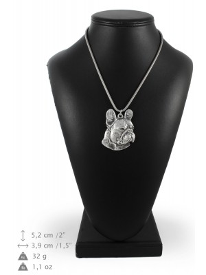 French Bulldog - necklace (silver cord) - 3184 - 33110