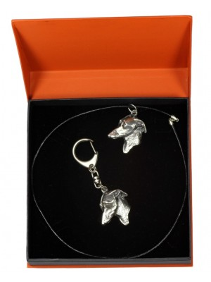 Italian Greyhound - keyring (silver plate) - 2194 - 21023