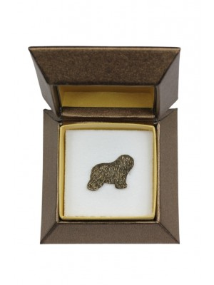Polish Lowland Sheepdog - pin (silver plate) - 2672 - 28954