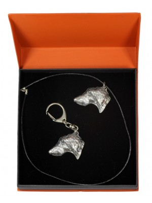 Scottish Deerhound - keyring (silver plate) - 2187 - 20855