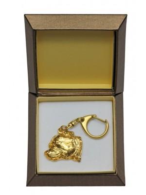Staffordshire Bull Terrier - keyring (gold plating) - 2456 - 27327