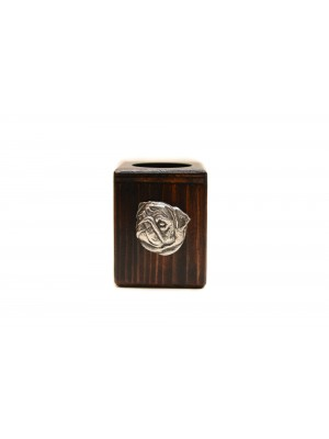Pug - candlestick (wood) - 3981