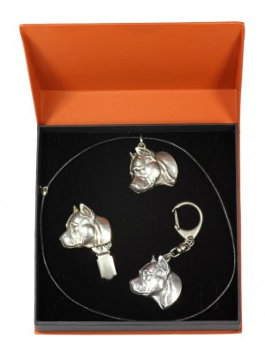 American Staffordshire Terrier - keyring (silver plate) - 2255 - 22747