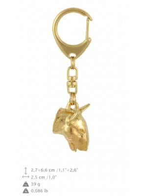 Bull Terrier - keyring (gold plating) - 773 - 29085
