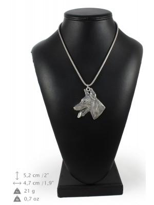 Doberman pincher - necklace (silver chain) - 3381 - 34651