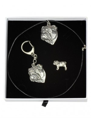 English Bulldog - keyring (silver plate) - 2105 - 18832