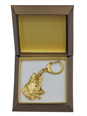 German Shepherd - keyring (gold plating) - 2396 - 27267