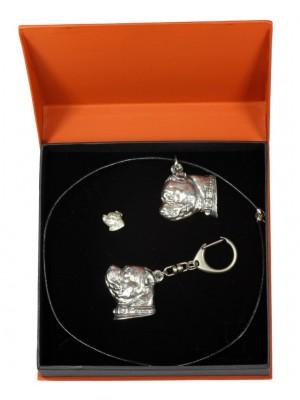 Staffordshire Bull Terrier - keyring (silver plate) - 2307 - 24457