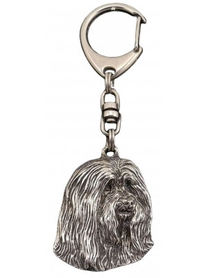 Bearded Collie - keyring (silver plate) - 34
