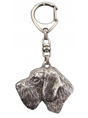 German Wirehaired Pointer - keyring (silver plate) - 117