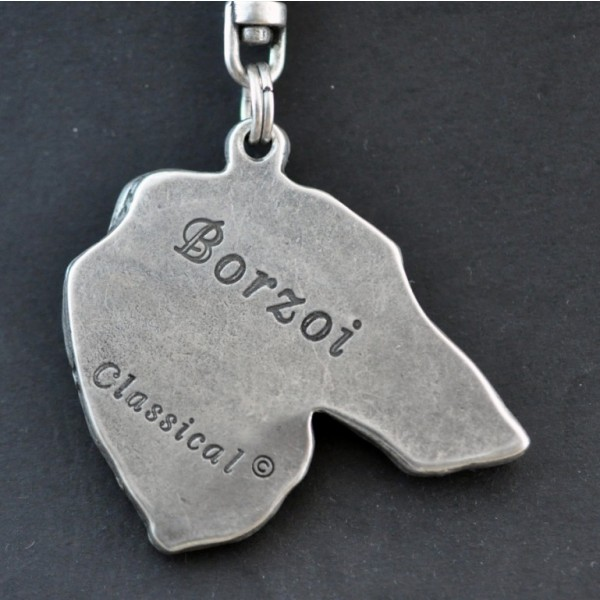Barzoï Russian Wolfhound - keyring (silver plate) - 42 - 261