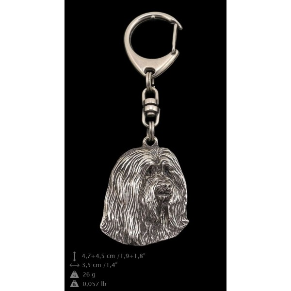 Bearded Collie - keyring (silver plate) - 34 - 9246