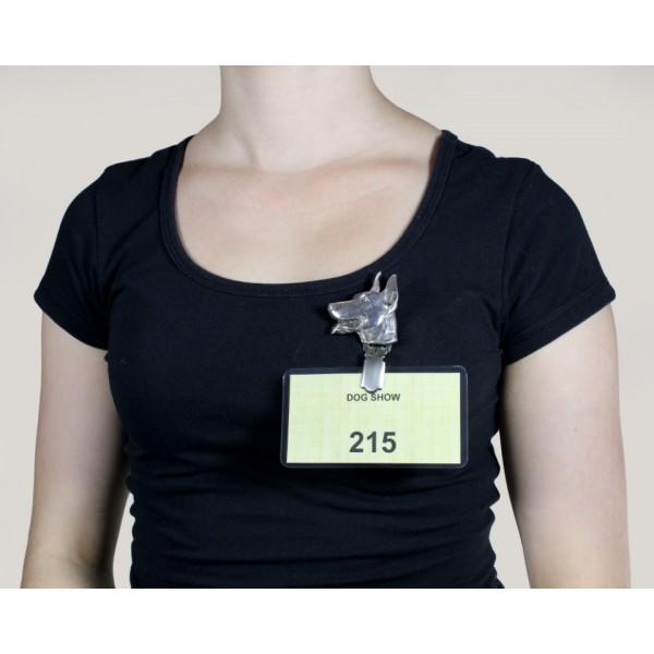 Doberman pincher - clip (silver plate) - 253 - 8600