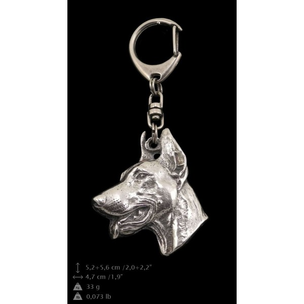 Doberman pincher - keyring (silver plate) - 48 - 9285